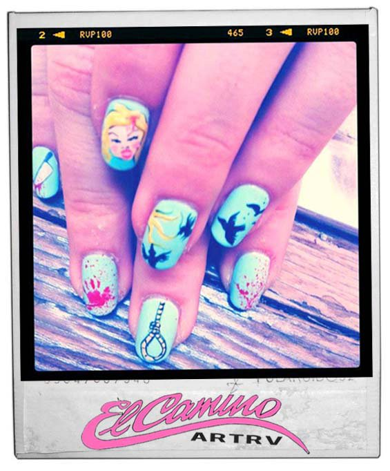 The Birds inspired nails by Fleury Rose