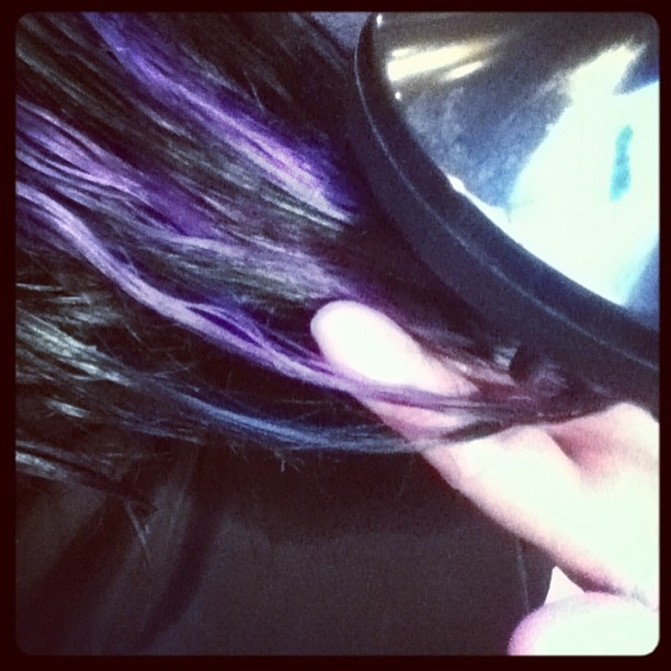 Black hair with purple Hi-Lite