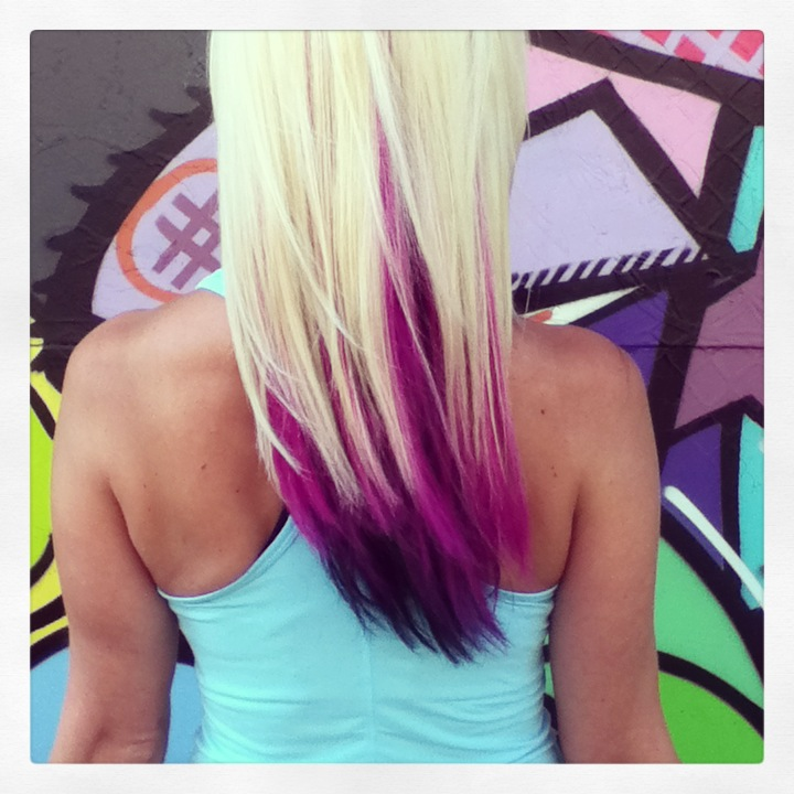 All over bleach blonde with black and pink panels color by Donna Rae Williams