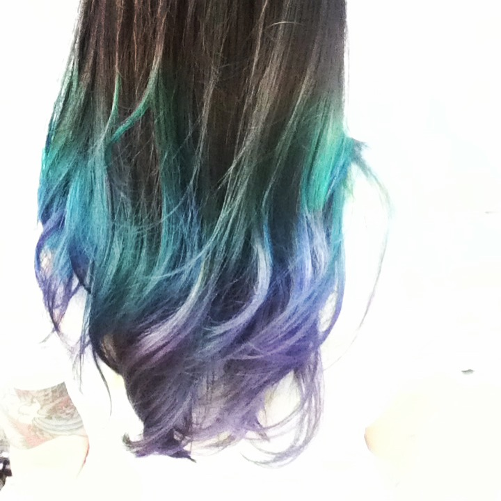 Aquamarine and purple ombre color by Kristin Jackson