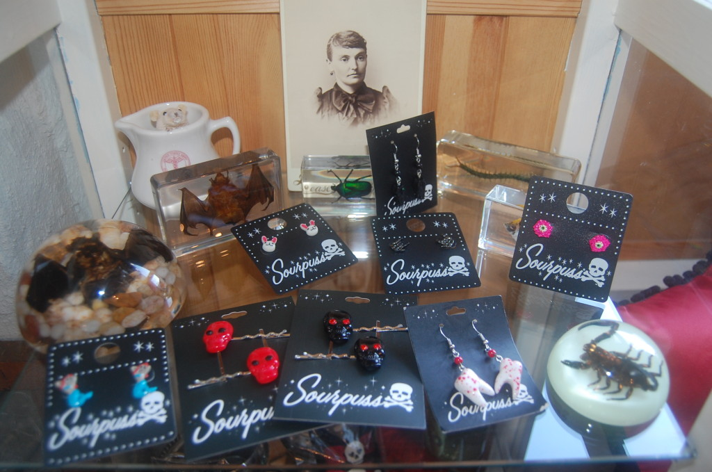 Sourpuss jewelry and oddities display