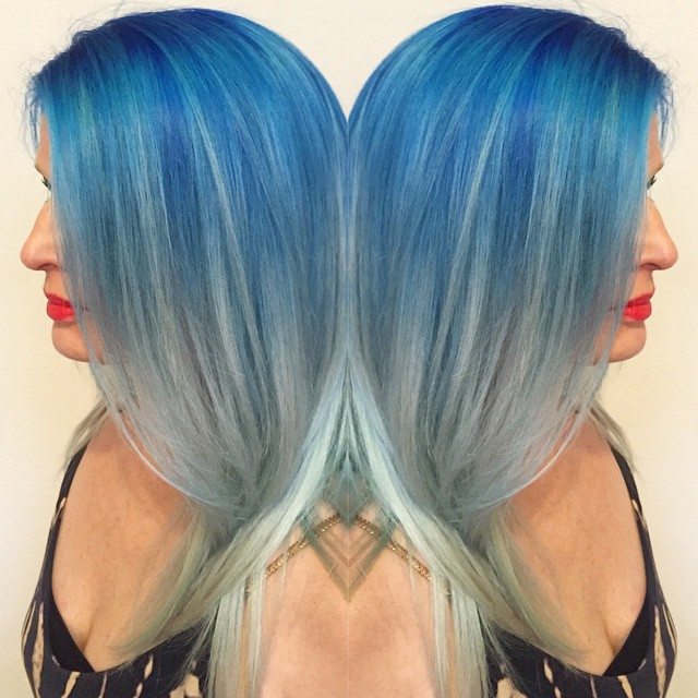 Mystic Blue, Caribbean Turquoise and Silver Cut and Color by Kristin Jackson