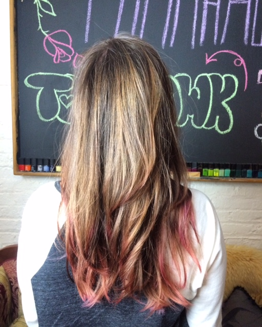 Our new stylist Natalia did a Full Head #Balayage with a bit of pink at the tips.