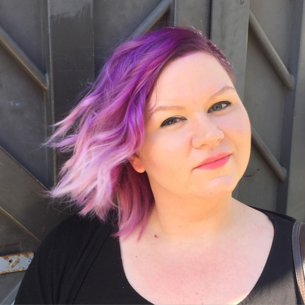 Kristin Jackson did a full #doubleprocess doing a darker purple root fading into a soft lavender