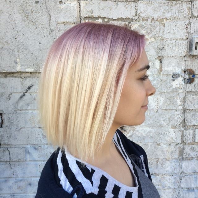 Natalia Michele melted an amethyst root into a soft pale blonde #doubleprocess