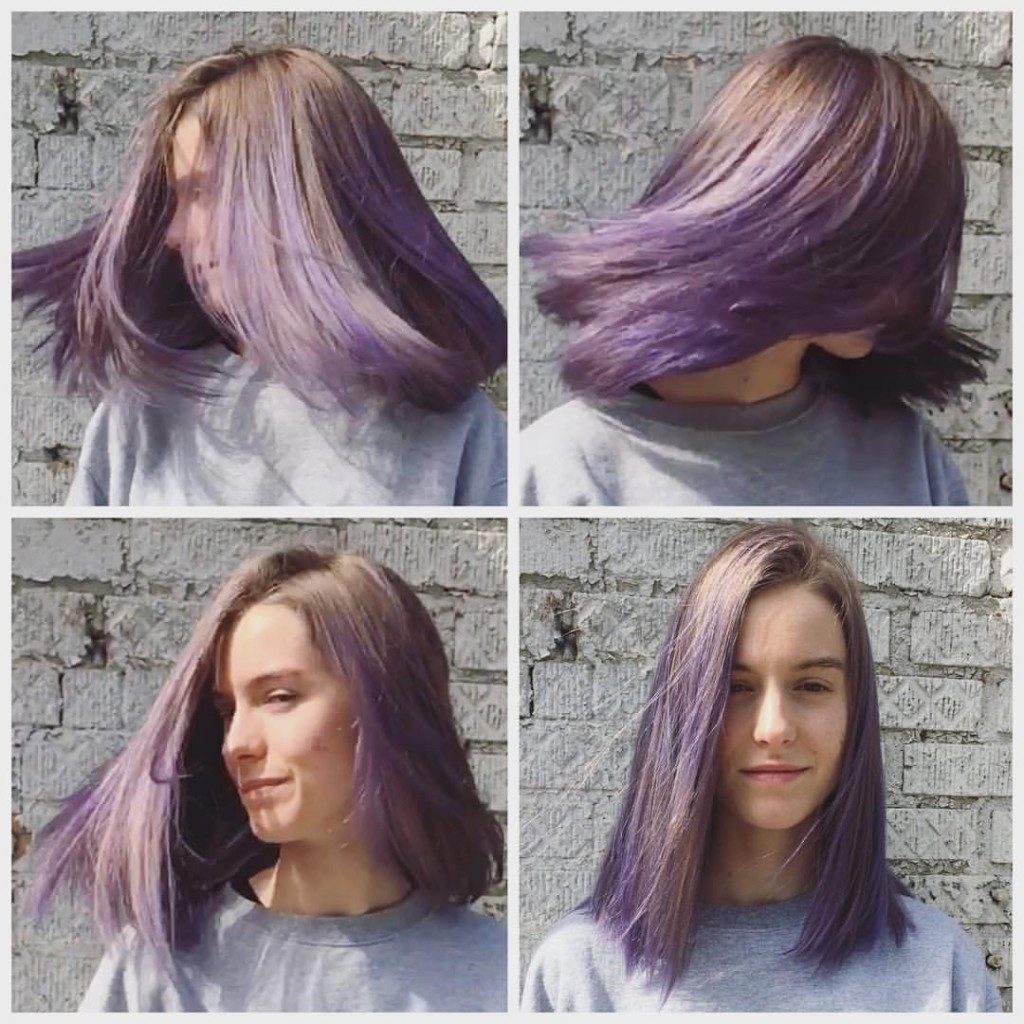 Kristin did a full head #balayage to create this multidimensional lavender. This hand painted technique is less maintenance than a double process.