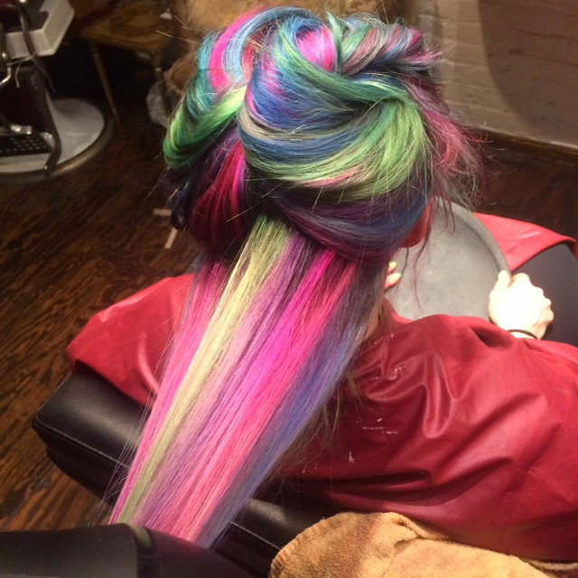 Natalia used a kaleidoscope of colors using Pravana Locked-In and Colordesign