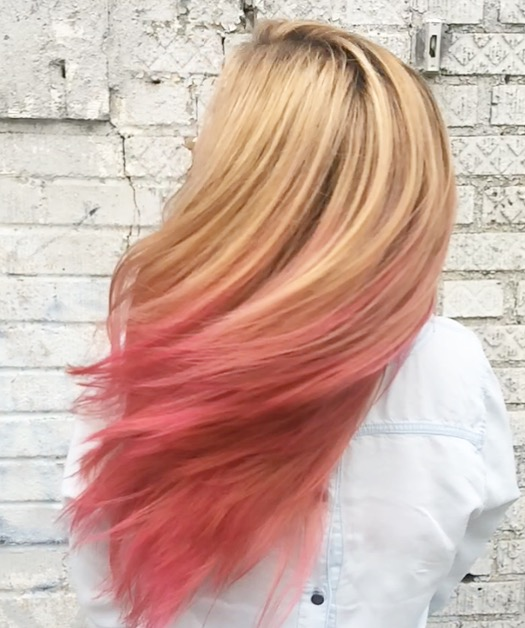 Natalia Michele did this golden blonde into pink #ombre #balayage