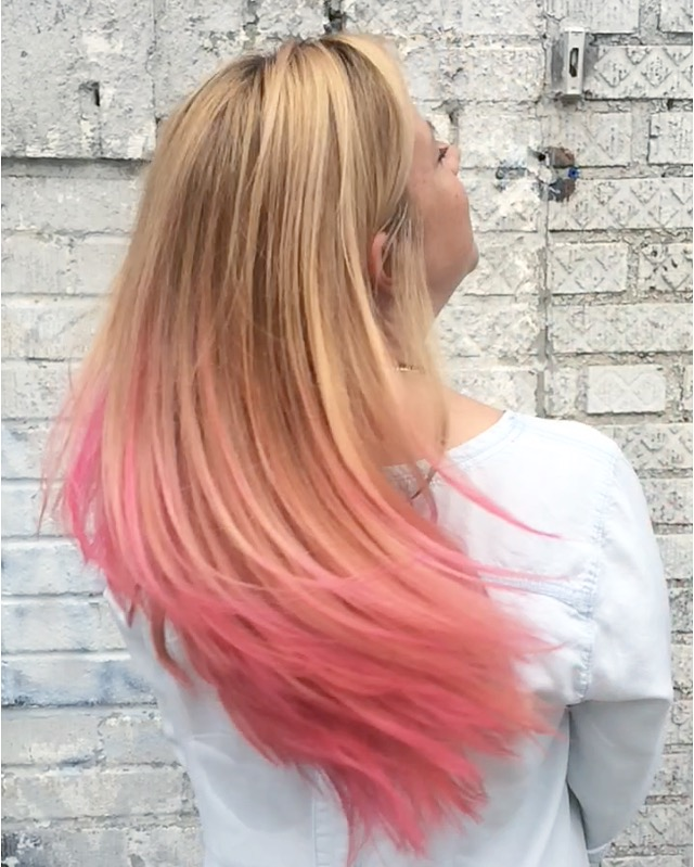 Natalia did a full #balayage to create this multidemensional color and hand painted a vibrant pink from mid shaft to ends #ombre