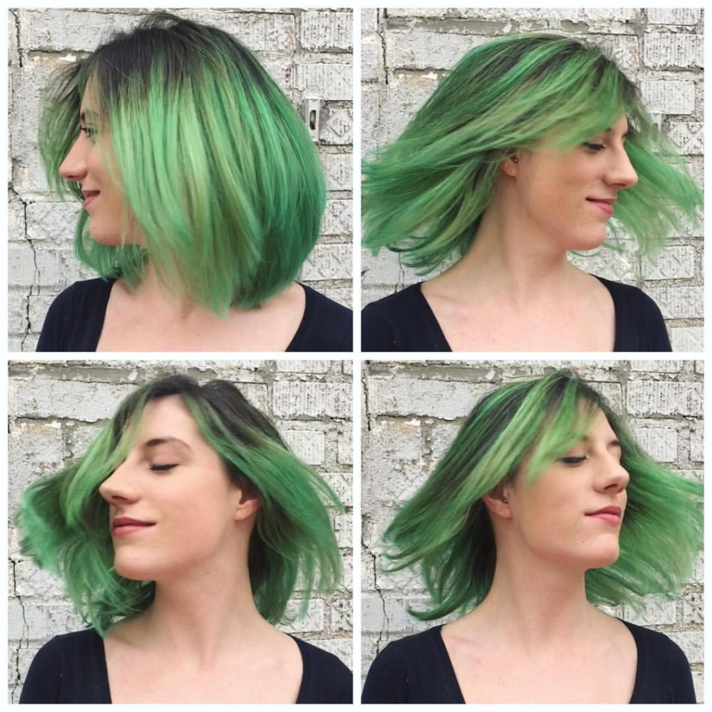 "This girl is channneling Blondie's Atomic ""Your hair is beautiful"" with a full head balayage in atomic green by Kristin Jackson."