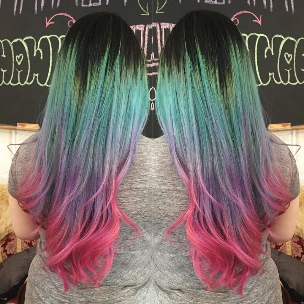 Kristin Jackson turned this grown out double process into a mermaid worthy ombre.