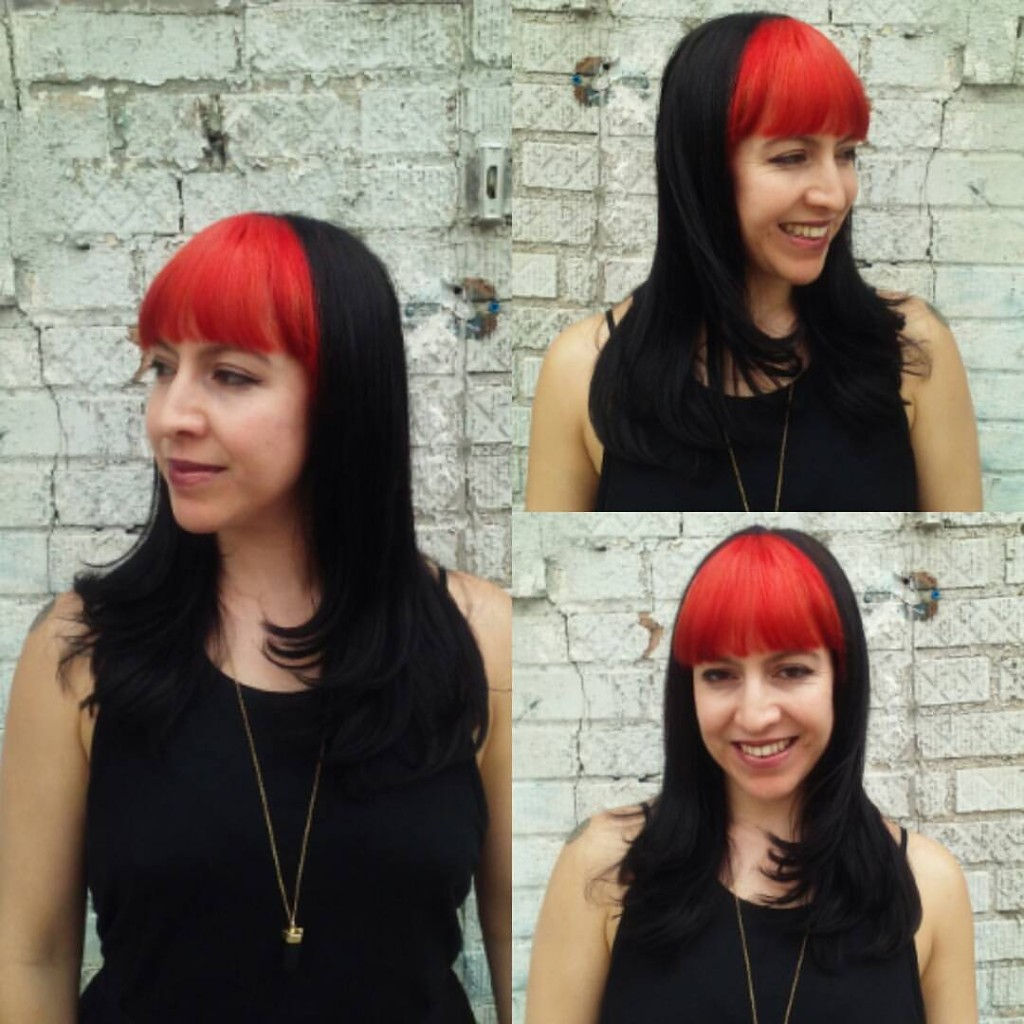 Maria Lina outdid herself with this killer crimson red bang panel and drool worthy cut!