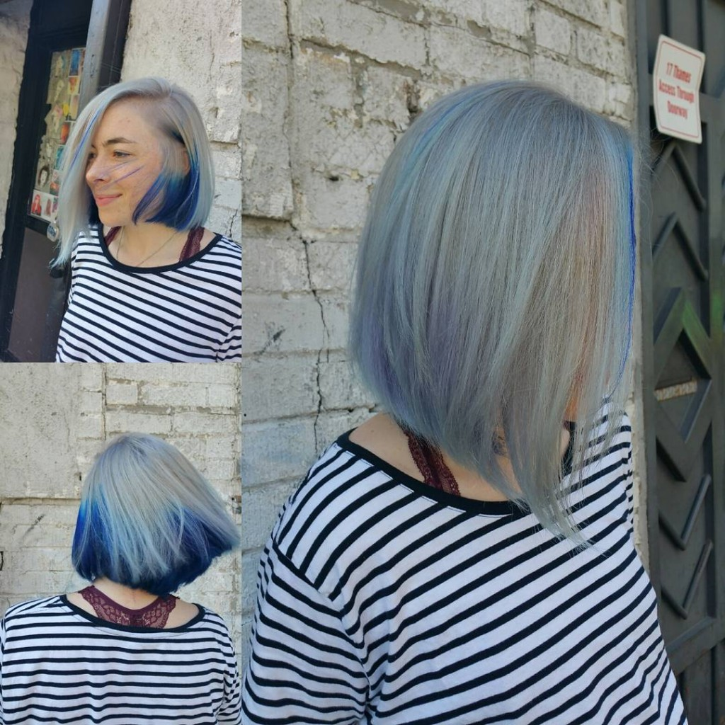 Donna Rae did a large peek-a-boo blue panel to give this steely platinum a pop of color.
