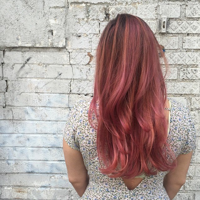 Full head balayage with a dusty creative pink color. Done by Kristin Jackson