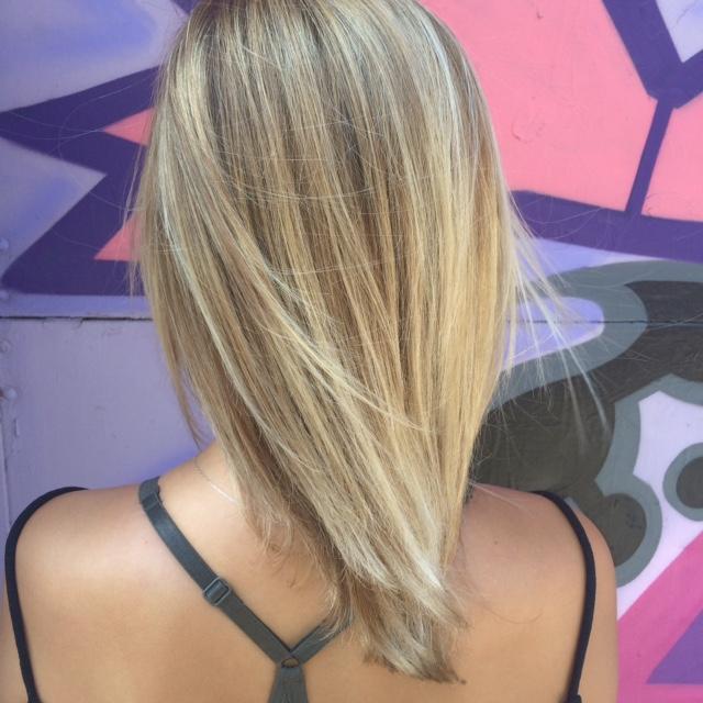 Bright blonde balayage by Natalia Michele