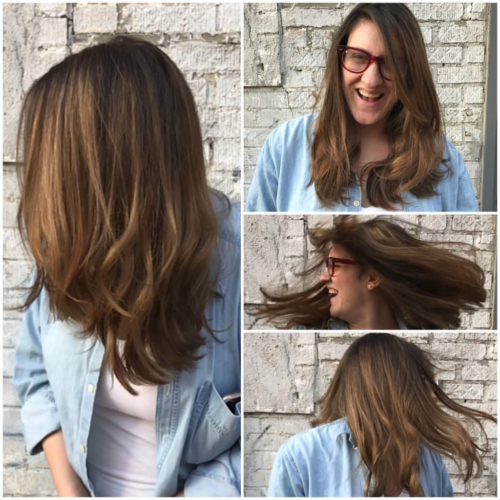 Kristin Jackson Did this full balayage to help lighten the strands and blend gray hair. Say bye-bye grays!