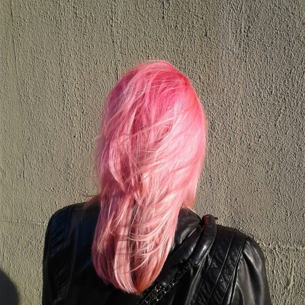 double process pink hair