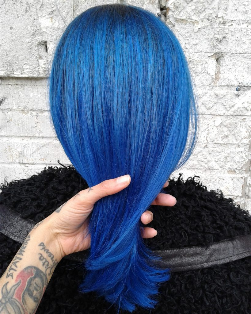 full head balayage highlights indigo blue