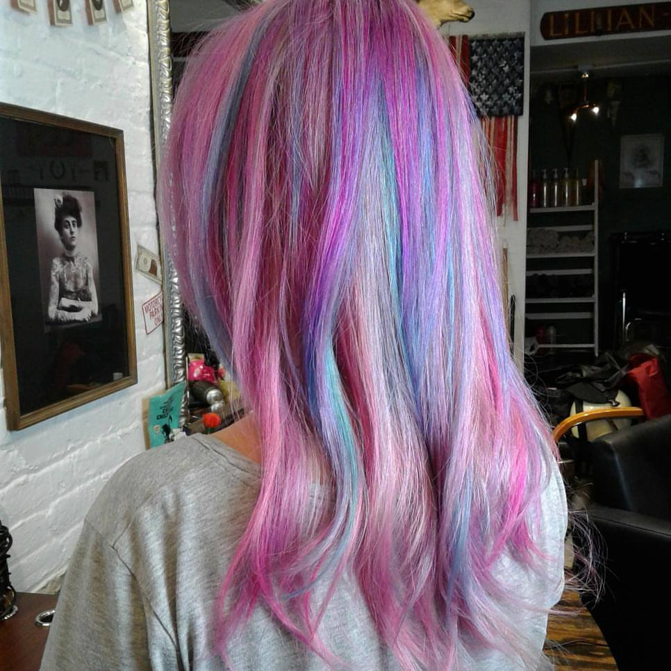 multi color pastel balayage highlights