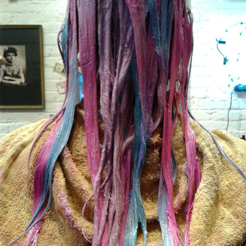 teal, pink and purple balayage highlights