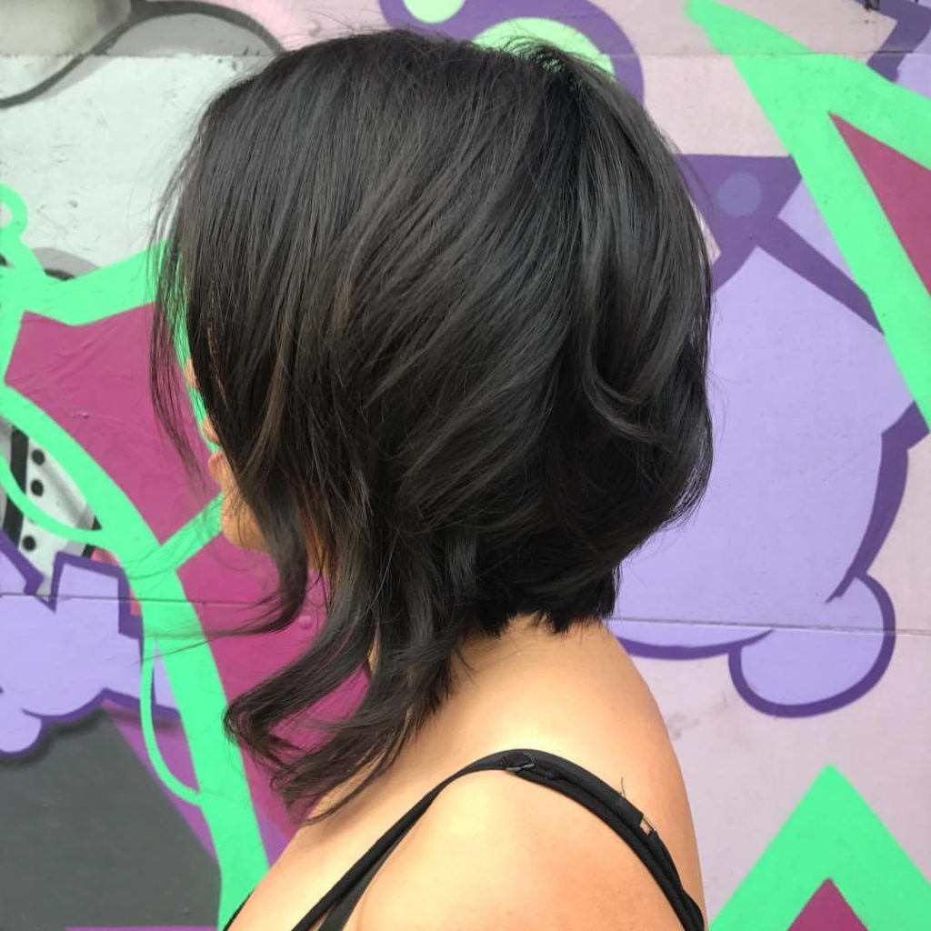 asymmetrical hair cut bob