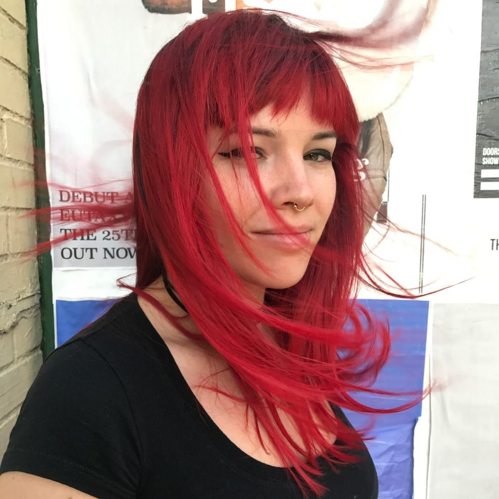 Full head balayage highlights creative color red.