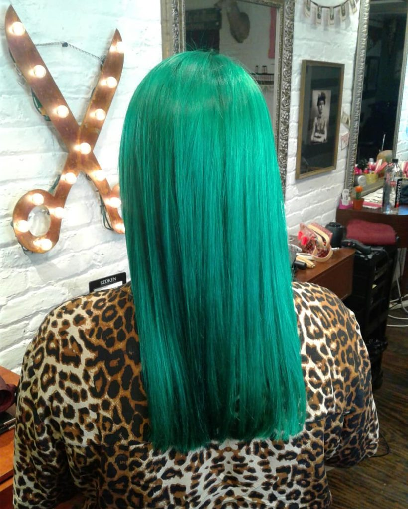 double process green hair.