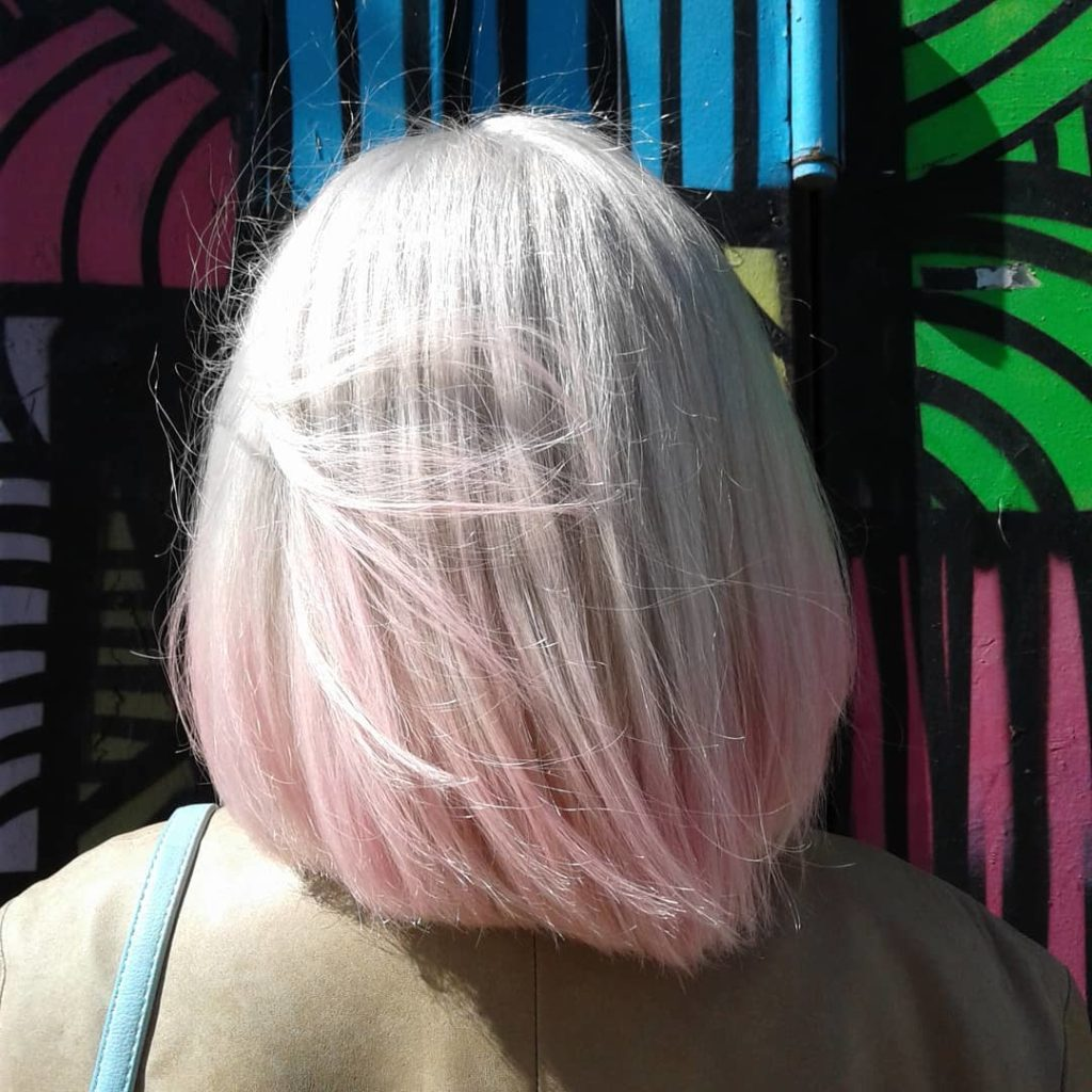 blonde melted into pale pink
